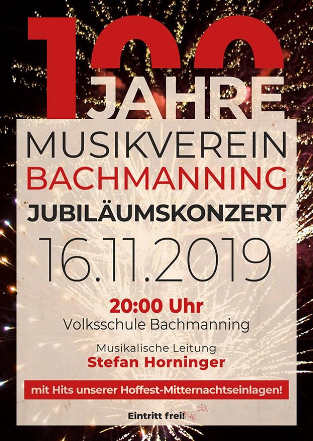 "Jubiläumskonzert ""100 Jahre MV Bachmanning"""